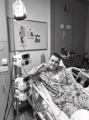 a young woman having chemo for blood cancer