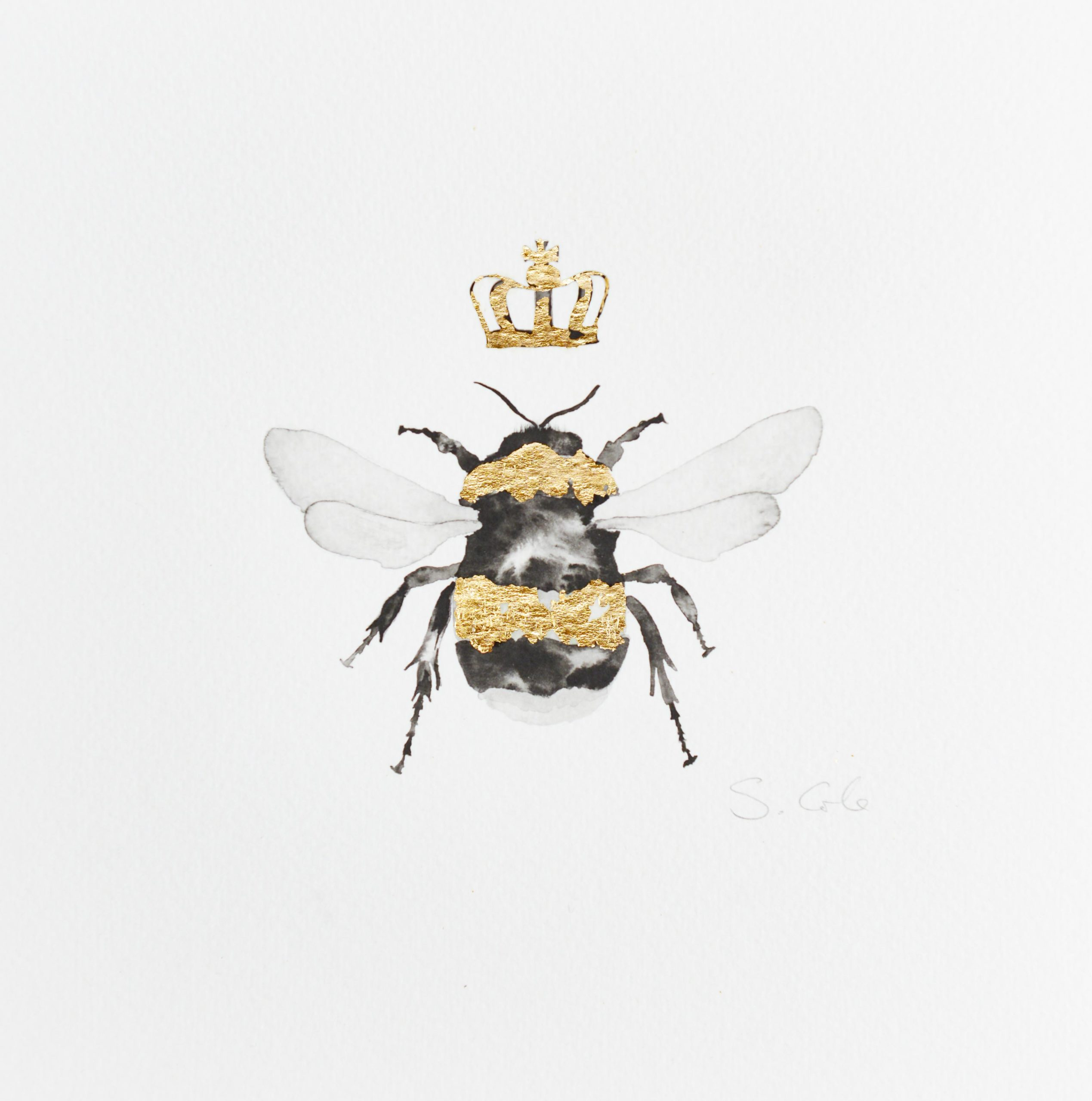 A HAND PAINTED PICTURE OF A BEE WITH A CROWN