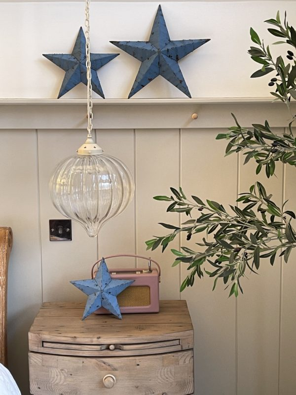 small blue barn star